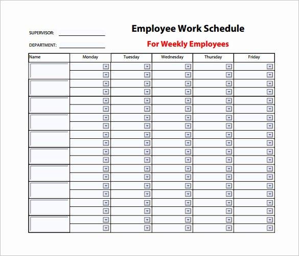 Free Employee Work Schedule Template Luxury Employee Work Schedule Template – 10 Free Word Excel