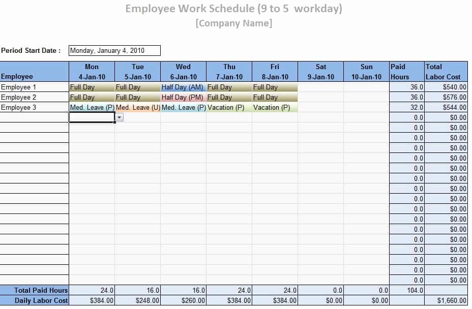 Free Employee Work Schedule Template New Employee Work Schedule Template Word Excel