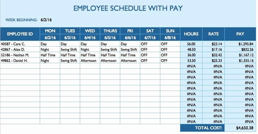 Free Employee Work Schedule Template New Free Daily Schedule Templates for Excel Smartsheet