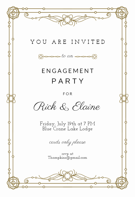 Free Engagement Party Invitation Template Fresh Classic Border Engagement Party Invitation Template