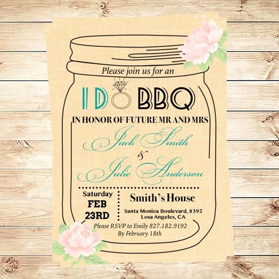 Free Engagement Party Invitation Template Lovely I Do Bbq Invitation Template Mason Jar Invitation