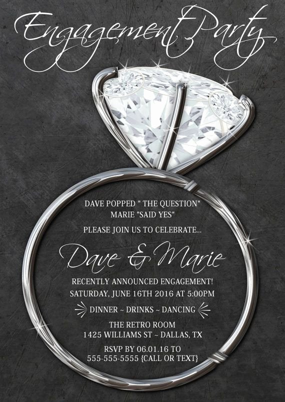 Free Engagement Party Invitation Template New Silver Engagement Ring Invitations Chalkboard Party