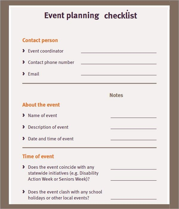 Free event Planner Template Awesome Free event Planning Checklist Ministry