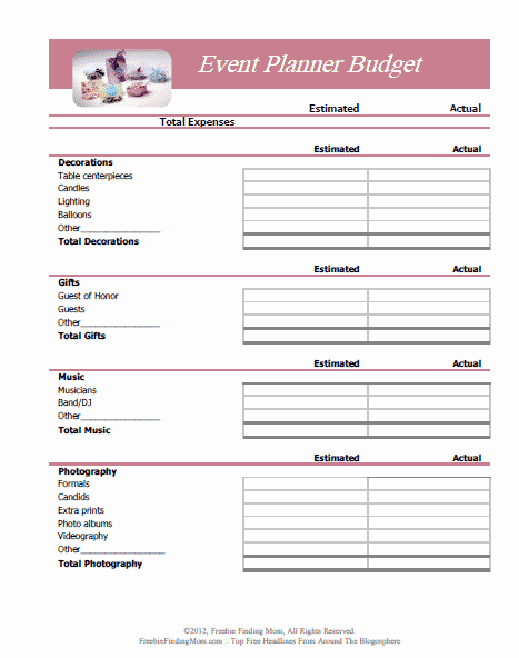 Free event Planner Template Fresh Free Printable Bud Worksheets