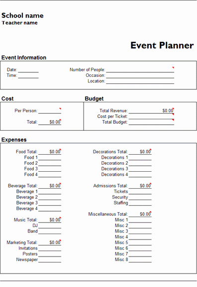 Free event Planner Template Fresh Ms Excel event Planner Template