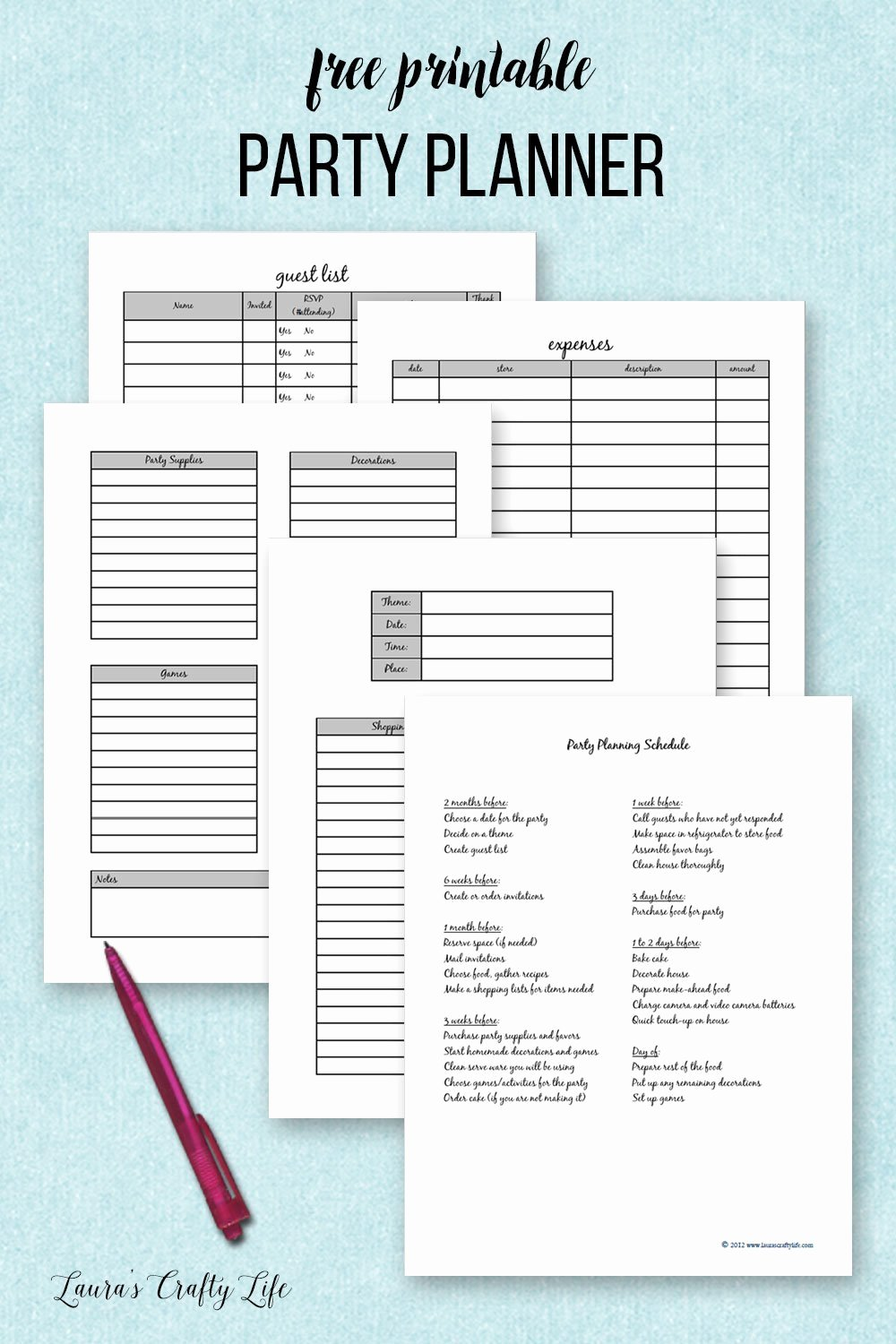 Free event Planner Template Fresh Party Planner Printable Laura S Crafty Life