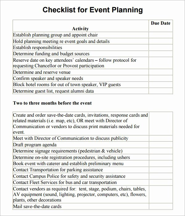 Free event Planning Template Awesome event Planning Checklist Template