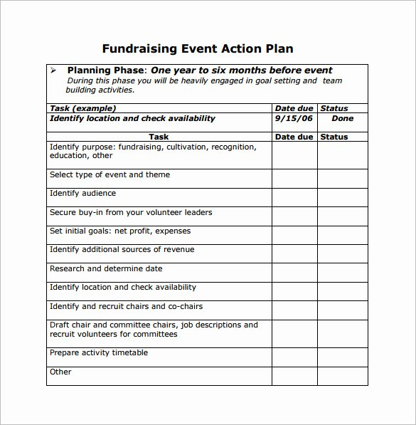 Free event Planning Template Download Lovely Printable Document Doc Fundraising event Action Planning