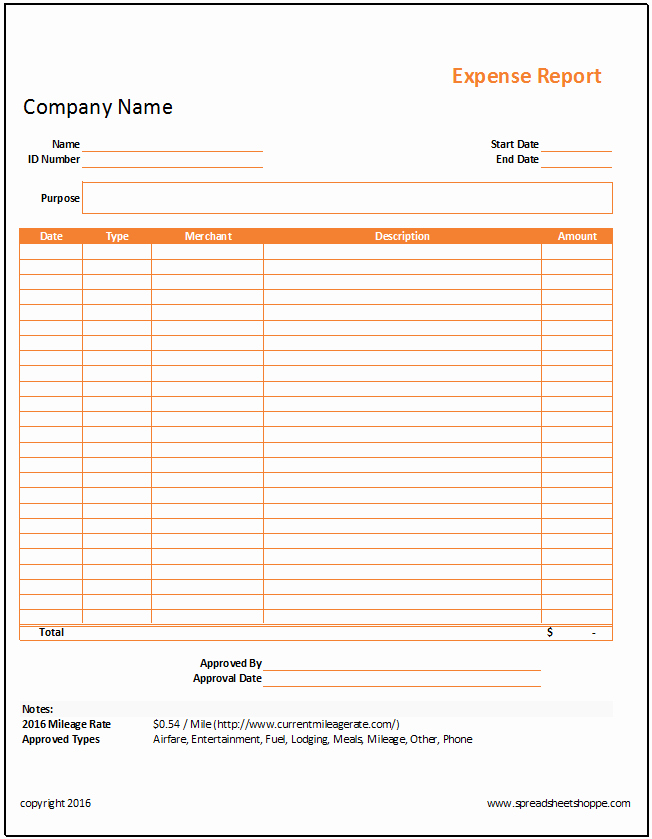 Free Expense form Template Luxury Simple Expense Report Template Spreadsheetshoppe
