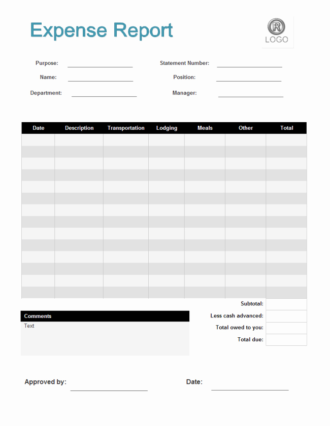 Free Expense form Template New Expense Report form