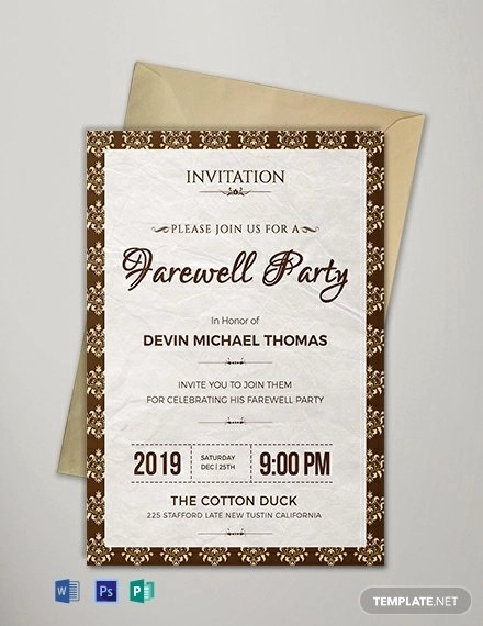 Free Farewell Invitation Template Awesome 16 Farewell Card Template Word Pdf Psd Eps