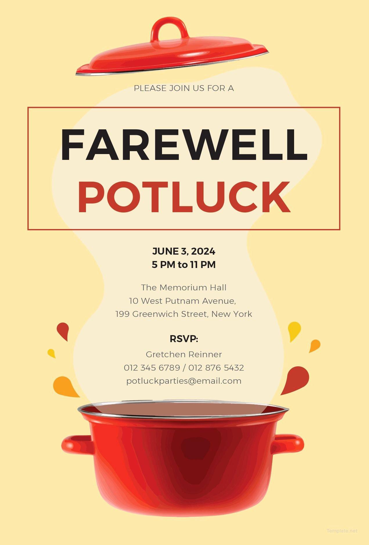 Free Farewell Invitation Template Beautiful Free Farewell Potluck Invitation Just Cool