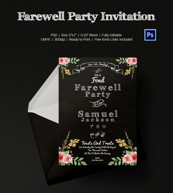 Free Farewell Invitation Template Elegant Farewell Party Invitation Template 25 Free Psd format