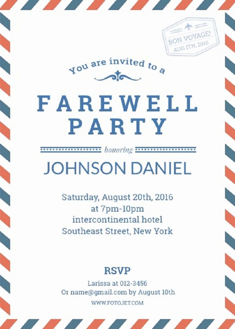 Free Farewell Invitation Template Lovely Farewell Party Invitation Template