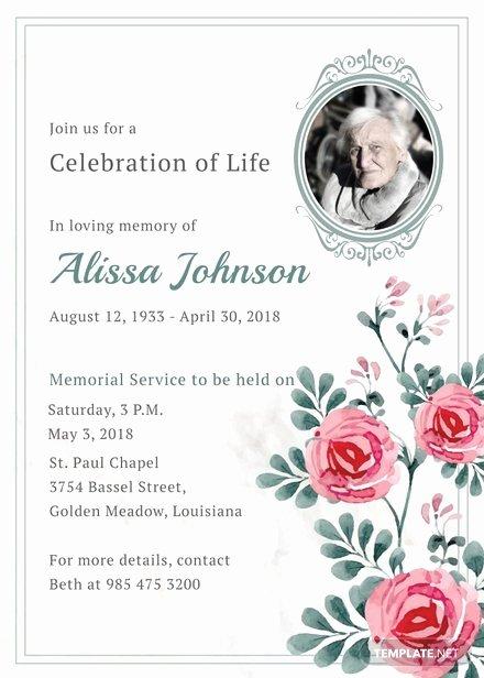 Free Funeral Invitation Template Luxury Memorial Service Invitation Template