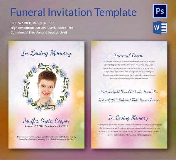 Free Funeral Invitation Template New Sample Funeral Invitation Template 11 Documents In Word