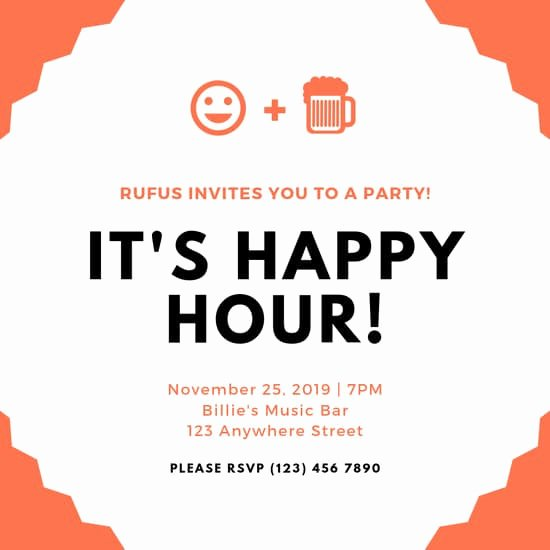 Free Happy Hour Invitation Template Awesome Customize 74 Happy Hour Invitation Templates Online Canva