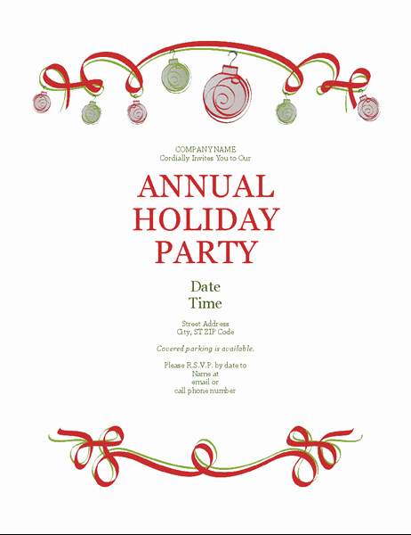Free Holiday Party Invitation Template Lovely Holiday Party Invitation with ornaments and Red Ribbon
