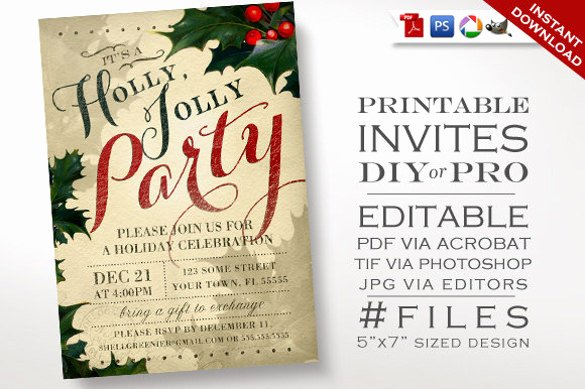 Free Holiday Party Invitation Template Luxury 37 Christmas Invitation Templates Psd Ai Word