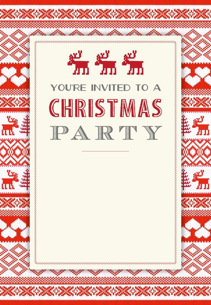 Free Holiday Party Invitation Template New Sweaters Pattern Free Printable Christmas Invitation