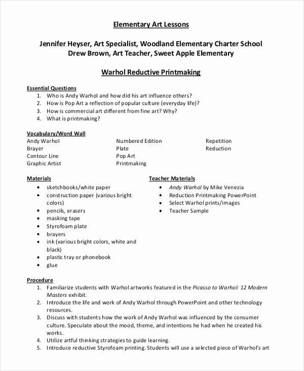 Free Lesson Plan Template Elementary Best Of 47 Lesson Plan Samples