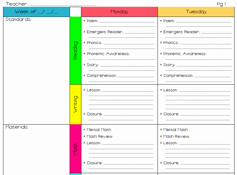 Free Lesson Plan Template Elementary Best Of A Teacher S Plan the Greg