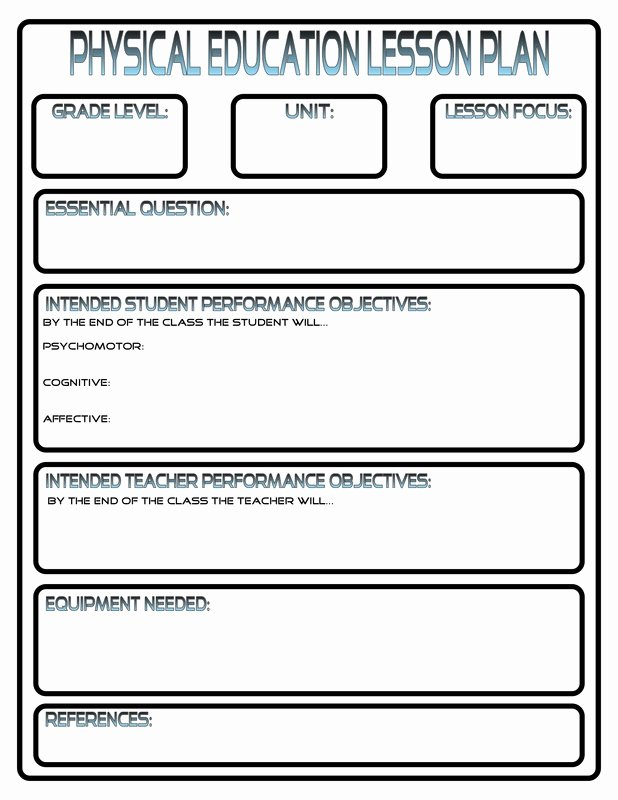 Free Lesson Plan Template Elementary Elegant Lesson Plans Phys Ed Review