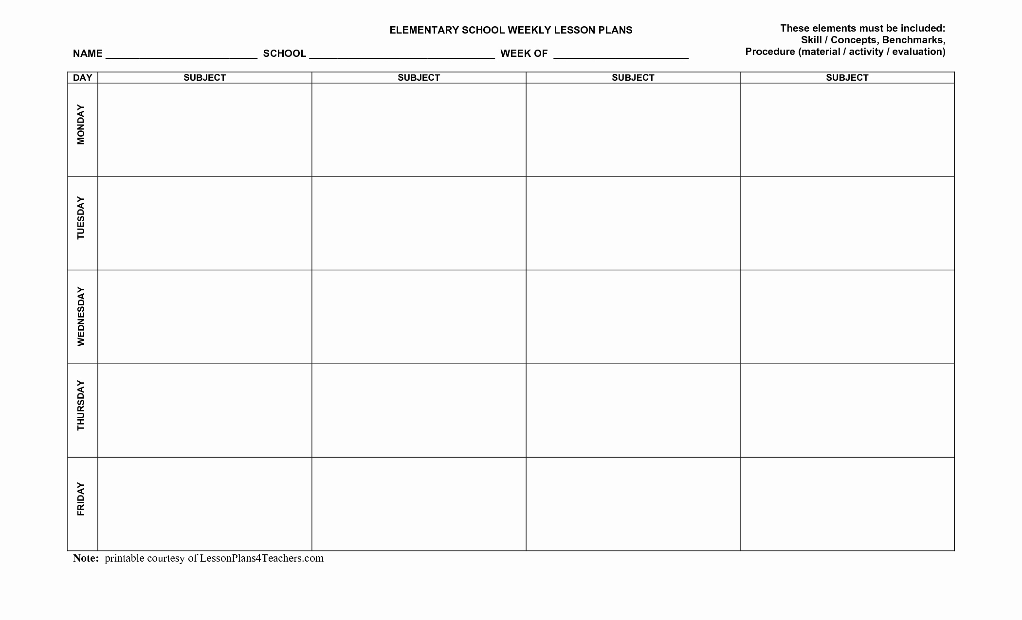 Free Lesson Plan Template Elementary Inspirational Unique Weekly Lesson Plan Templates Exceltemplate Xls