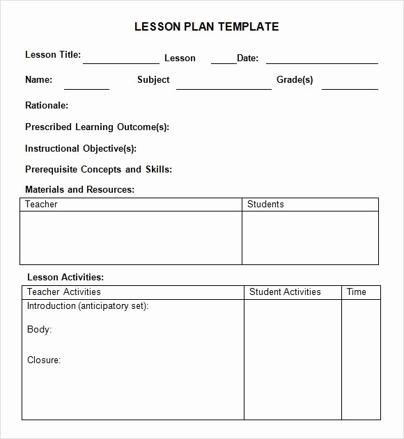 Free Lesson Plan Template Elementary Luxury Free 7 Sample Weekly Lesson Plans In Google Docs