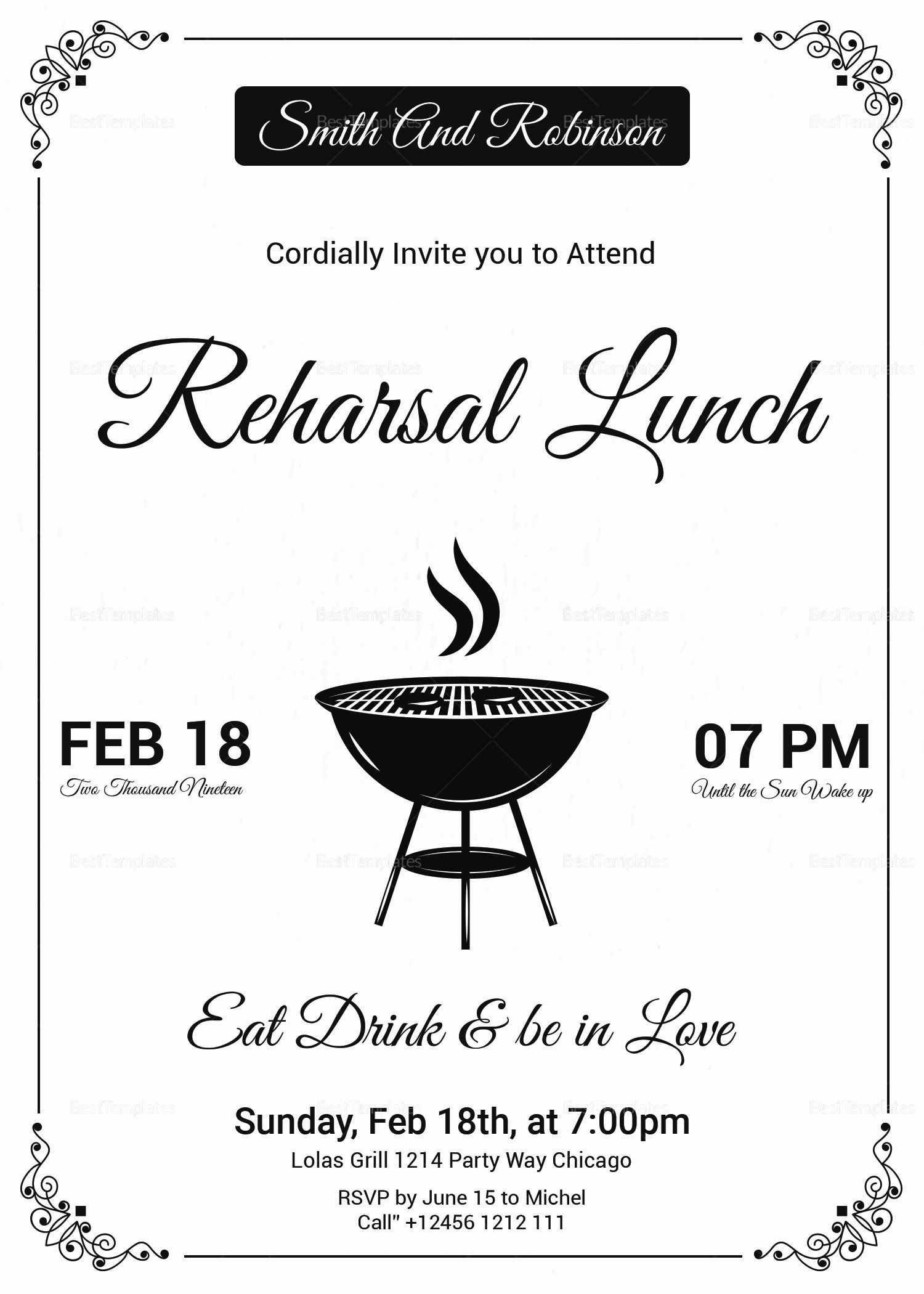 Free Lunch Invitation Template Beautiful Vintage Lunch Invitation Design Template In Psd Word