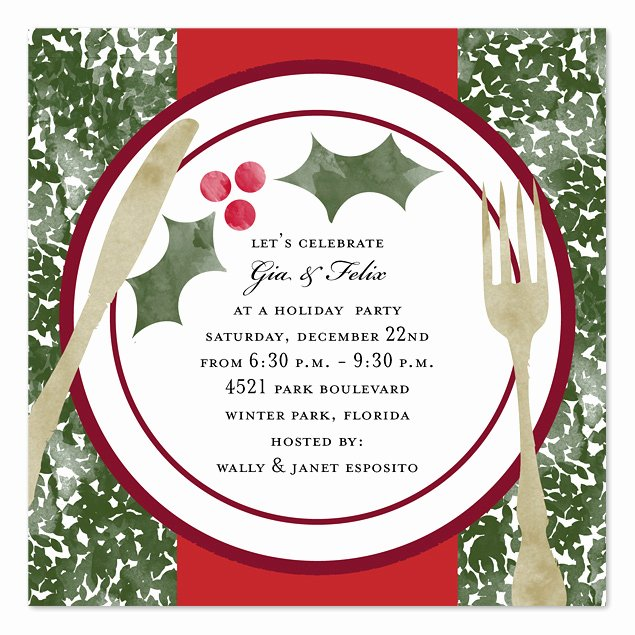Free Lunch Invitation Template Fresh Holiday Dinner Holiday Invitations by Invitation