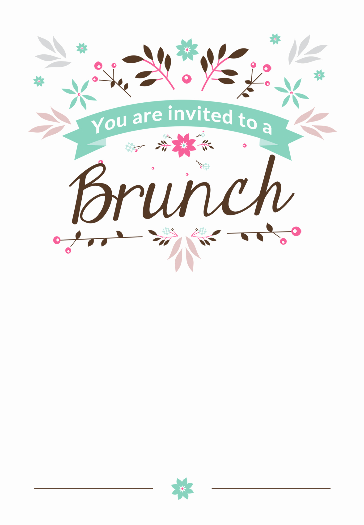 Free Luncheon Invitation Template Beautiful Flat Floral Free Printable Brunch Invitation Template