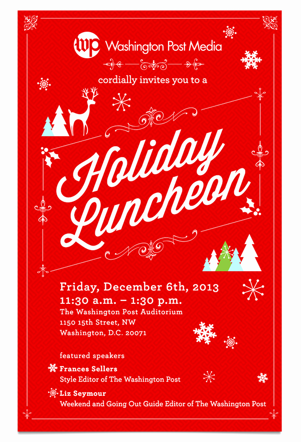 Free Luncheon Invitation Template Elegant Holiday Luncheon Invitation for Washington Post Media On