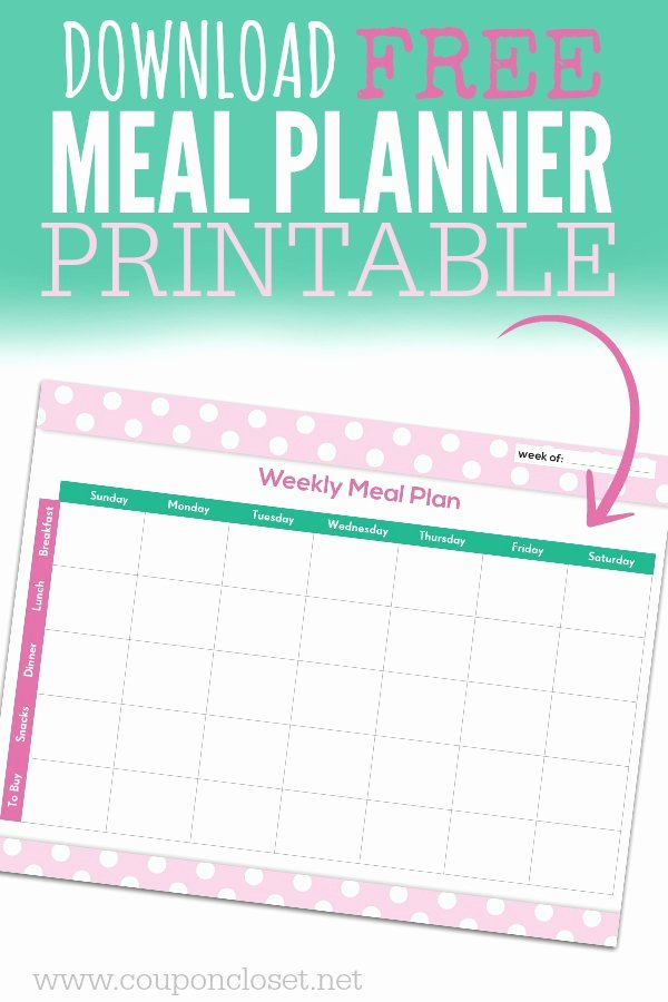 Free Meal Planner Template Download New Free Meal Planning Chart Printable Coupon Closet