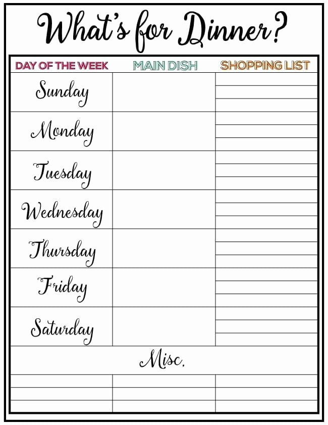 Free Menu Plan Template Beautiful Weekly Menu Plan 34