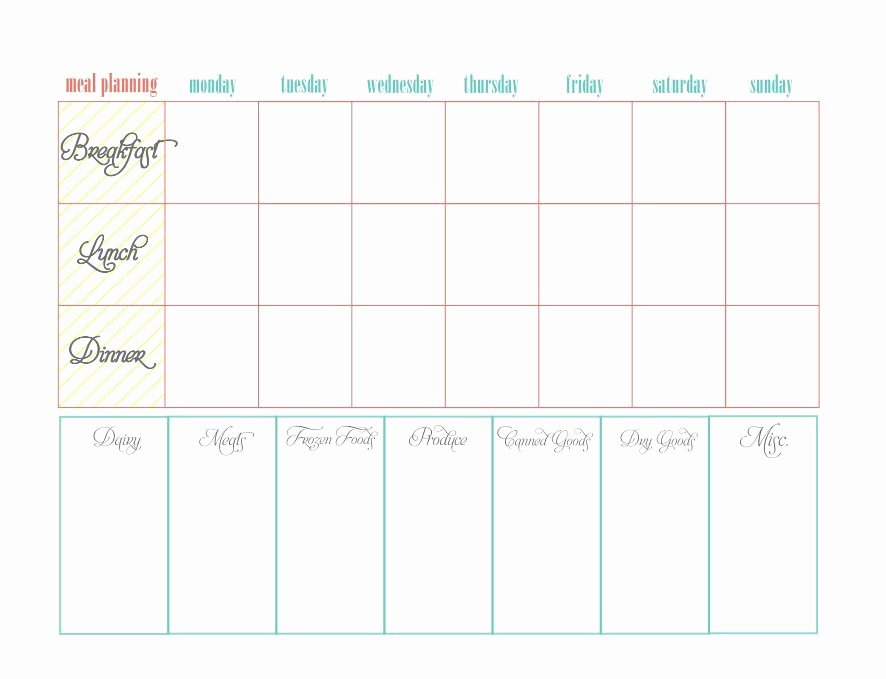 Free Menu Plan Template Elegant 40 Weekly Meal Planning Templates Template Lab