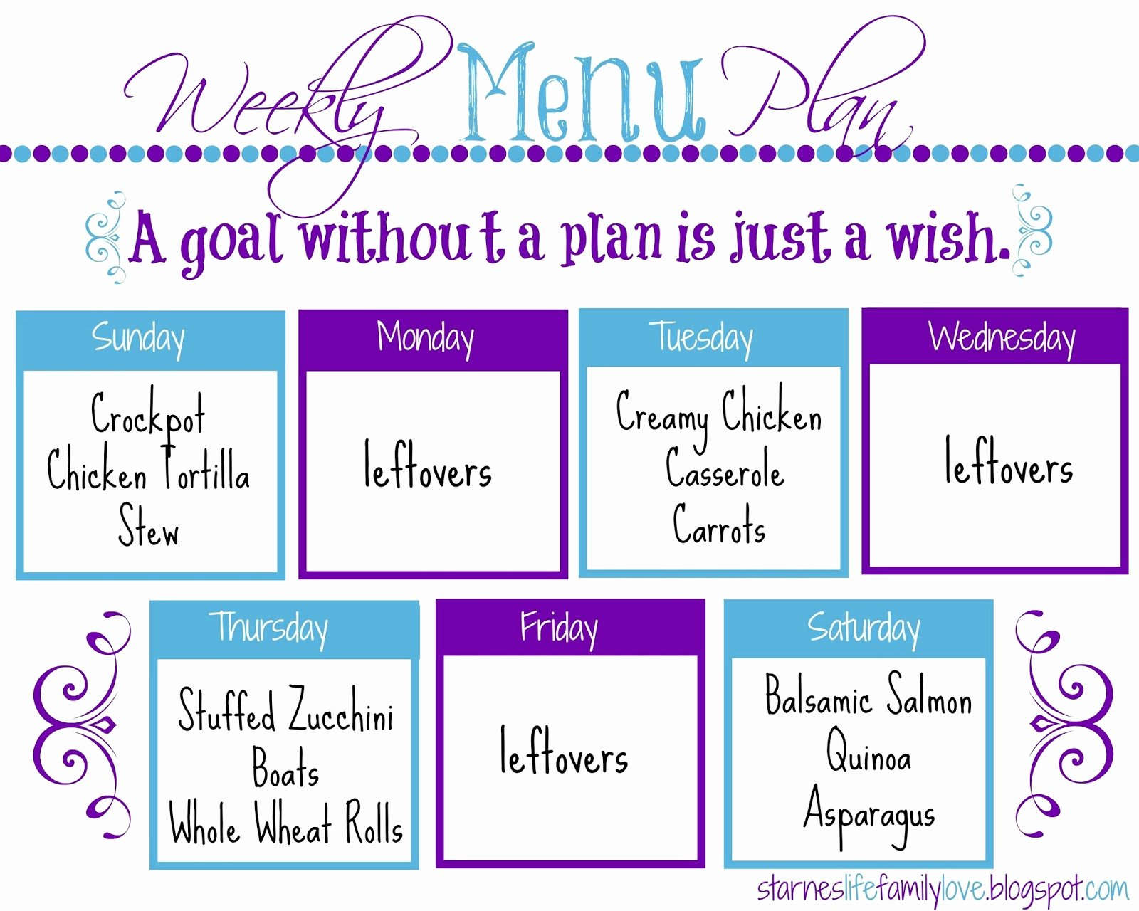 Free Menu Plan Template Elegant Life Family Love Menu Plan Week Of 01 04 15