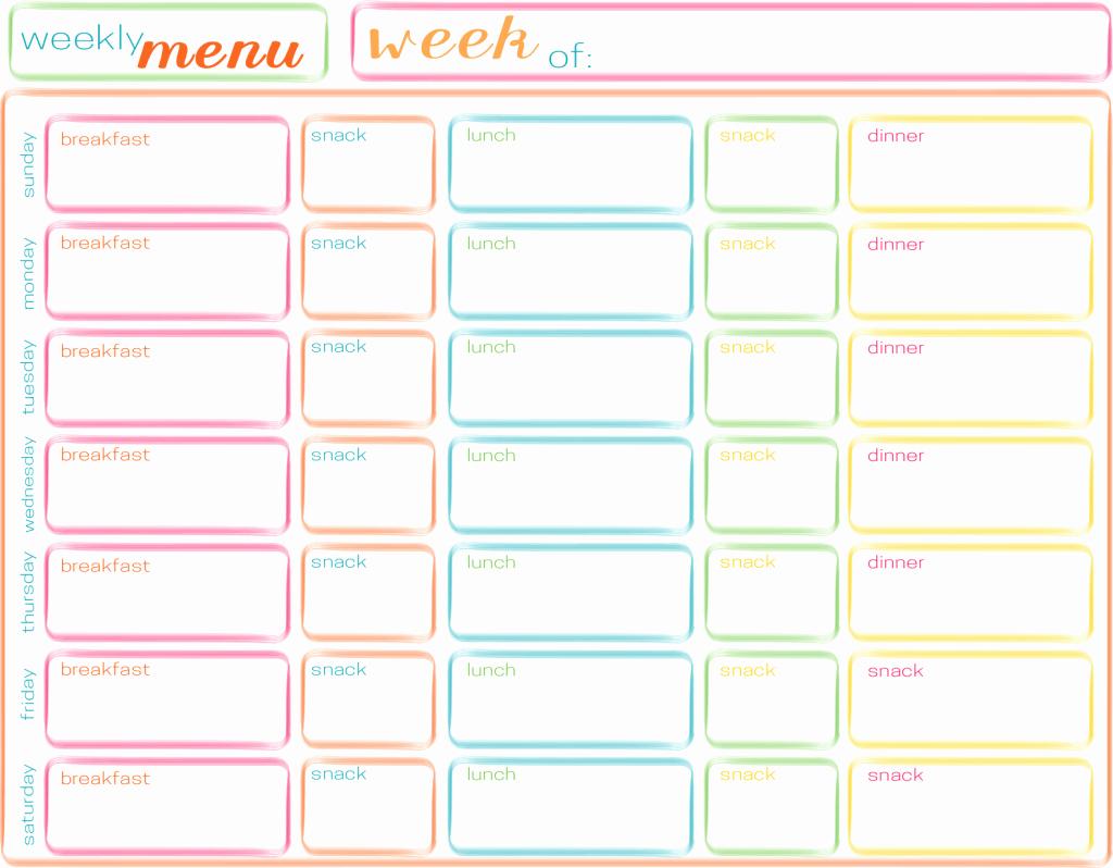 Free Menu Plan Template Elegant Meals for the Week Planning Ahead