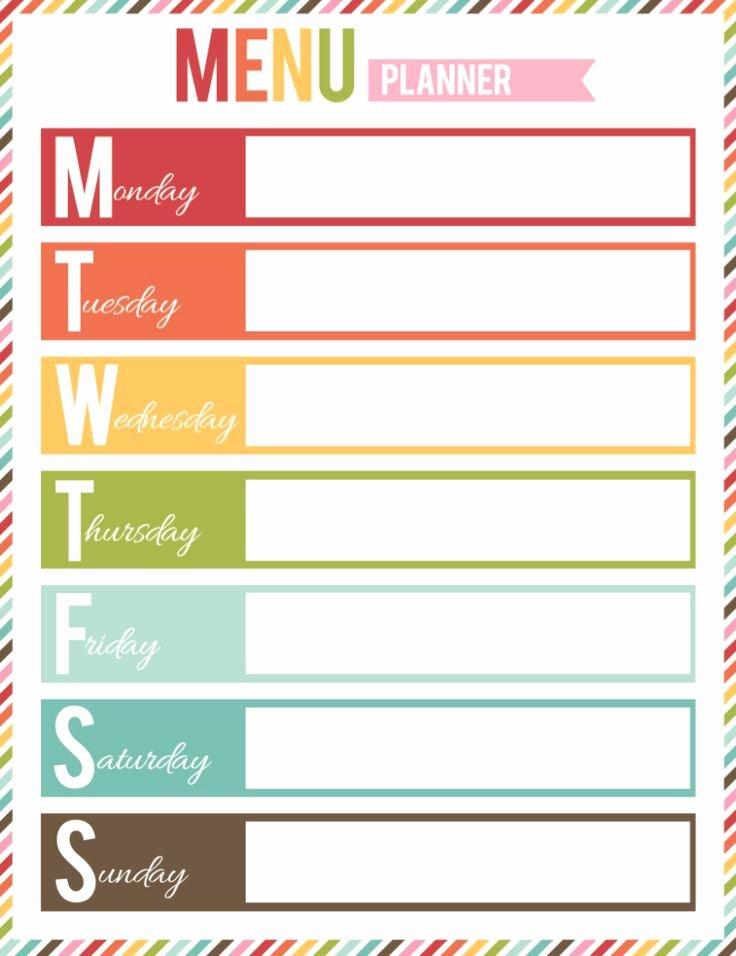 Free Menu Plan Template Fresh Free Printable Menu Planner organization