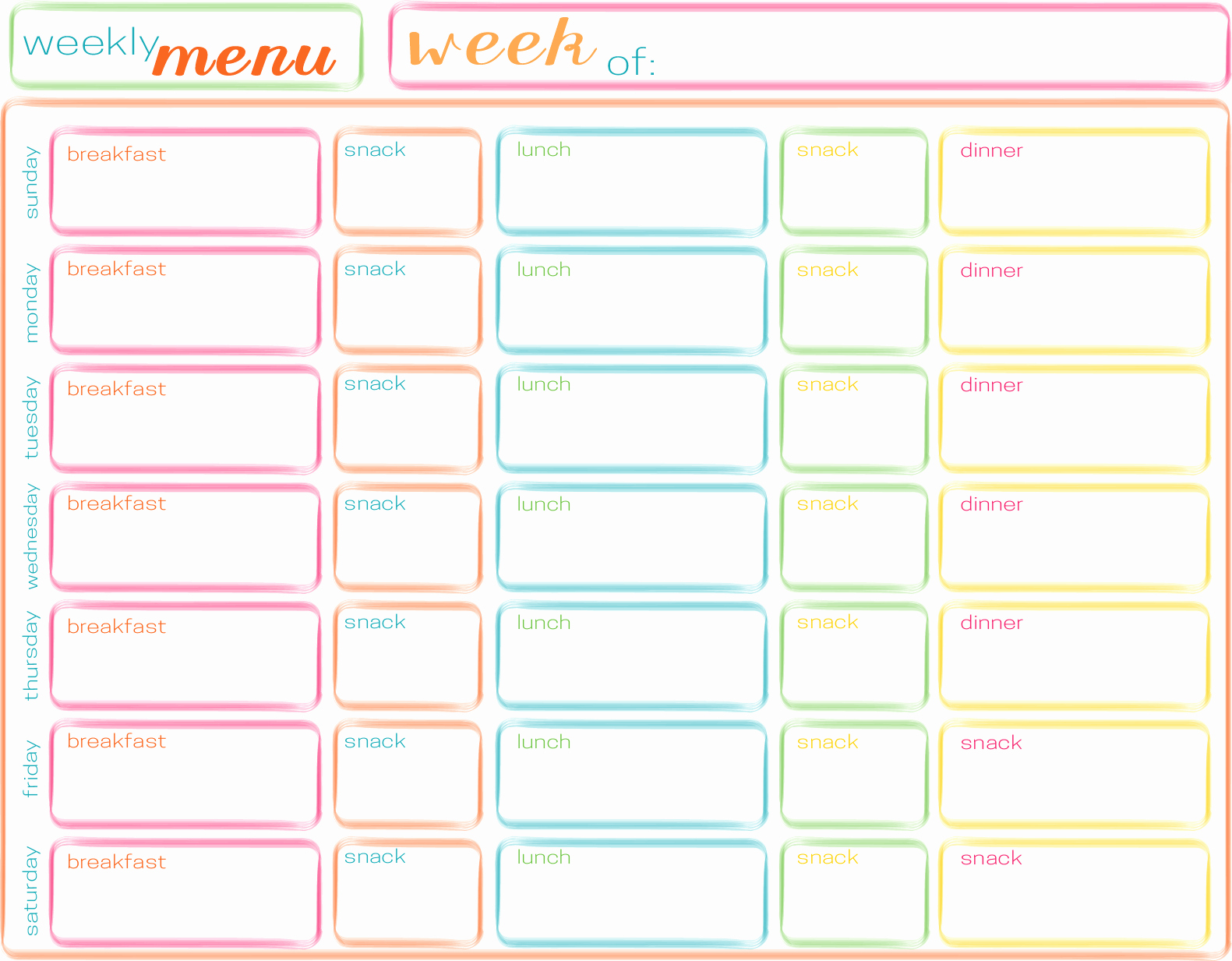 Free Menu Plan Template Fresh Meals for the Week Planning Ahead