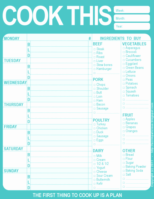 Free Menu Plan Template Inspirational 20 Free Menu Planner Printables