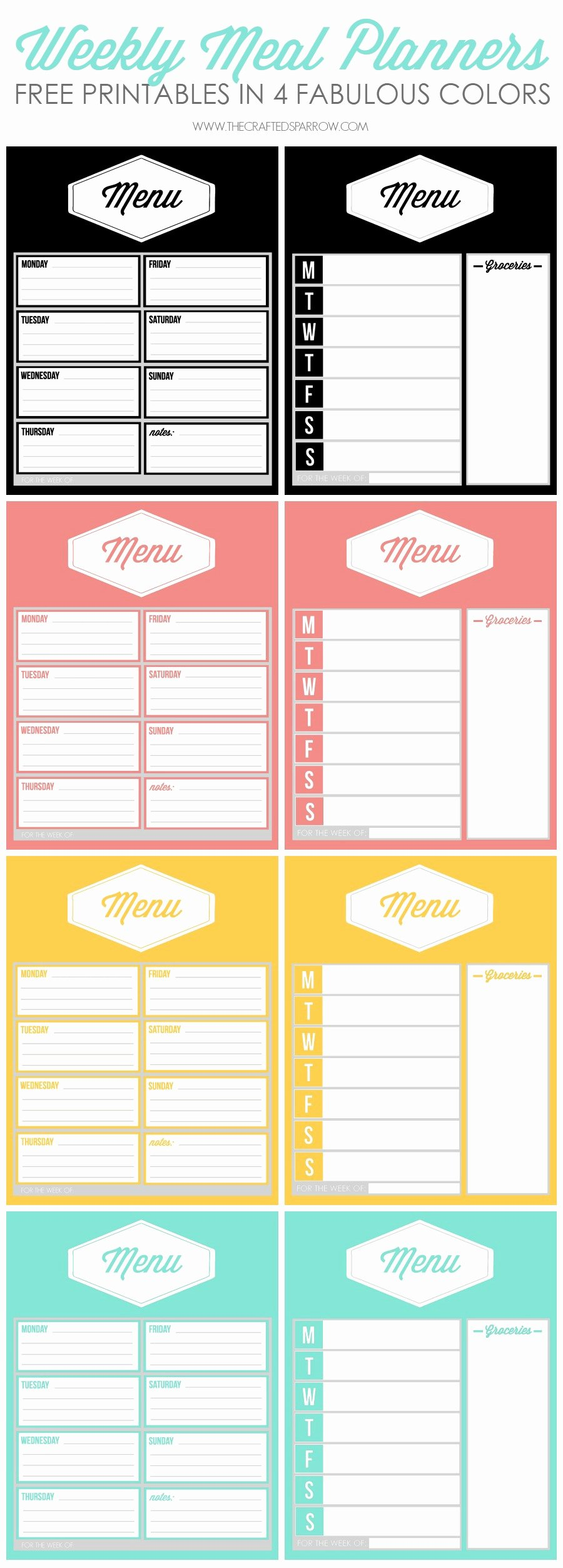 Free Menu Plan Template Inspirational Free Printable Weekly Meal Planners