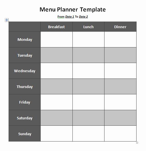 Free Menu Plan Template Inspirational Menu Planner Templates 8 Free Printable Templates