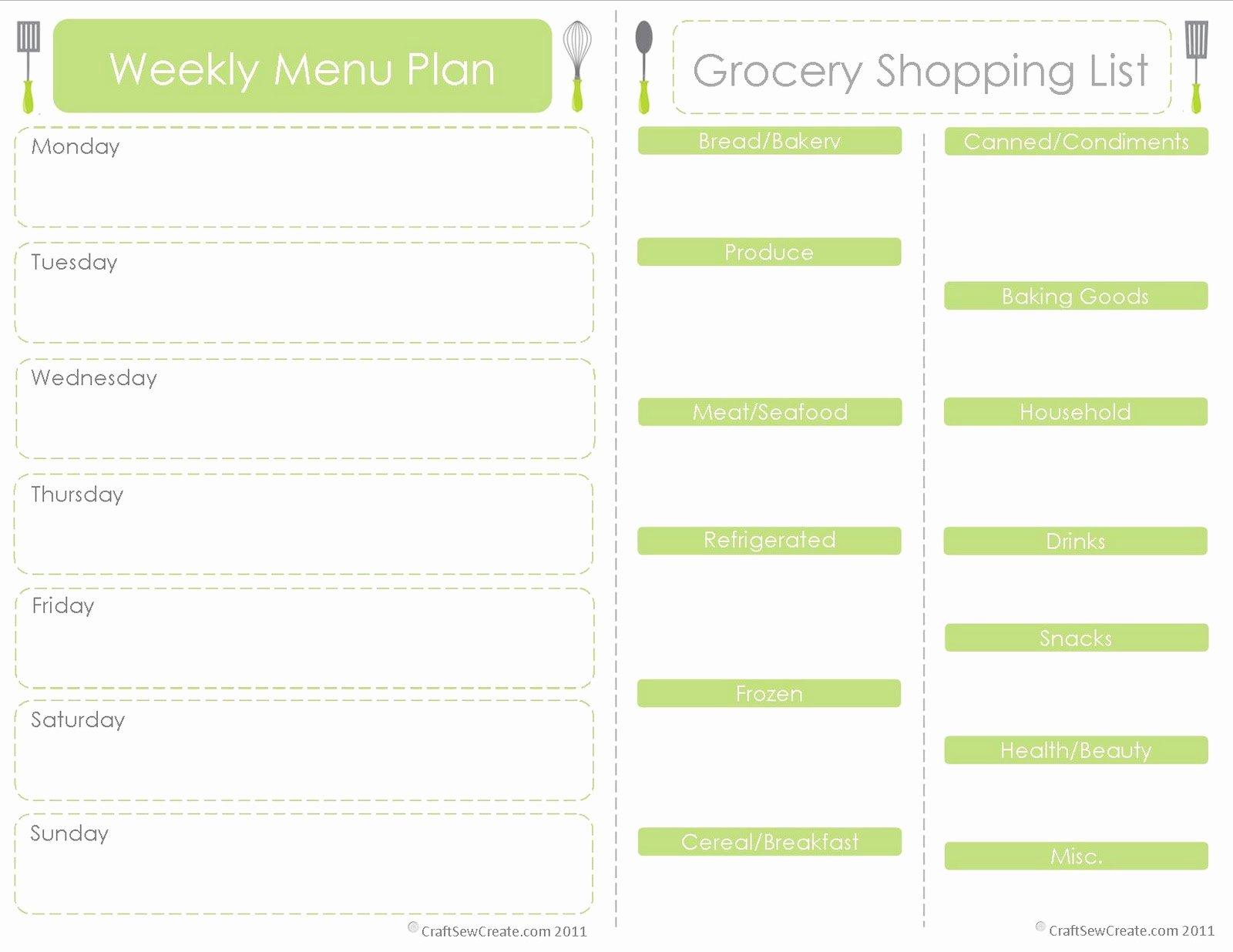 Free Menu Plan Template Lovely Craft Sew Create Free Printable Menu Plan Shopping List
