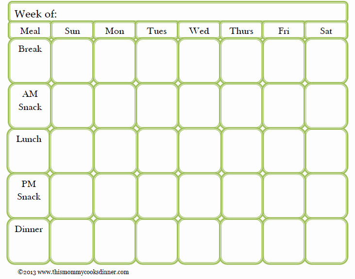 Free Menu Plan Template Lovely Meal Planning Made Easy Sun Oven