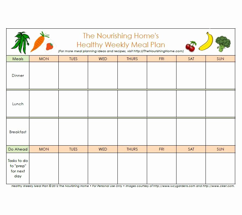 Free Menu Plan Template Luxury 40 Weekly Meal Planning Templates Template Lab
