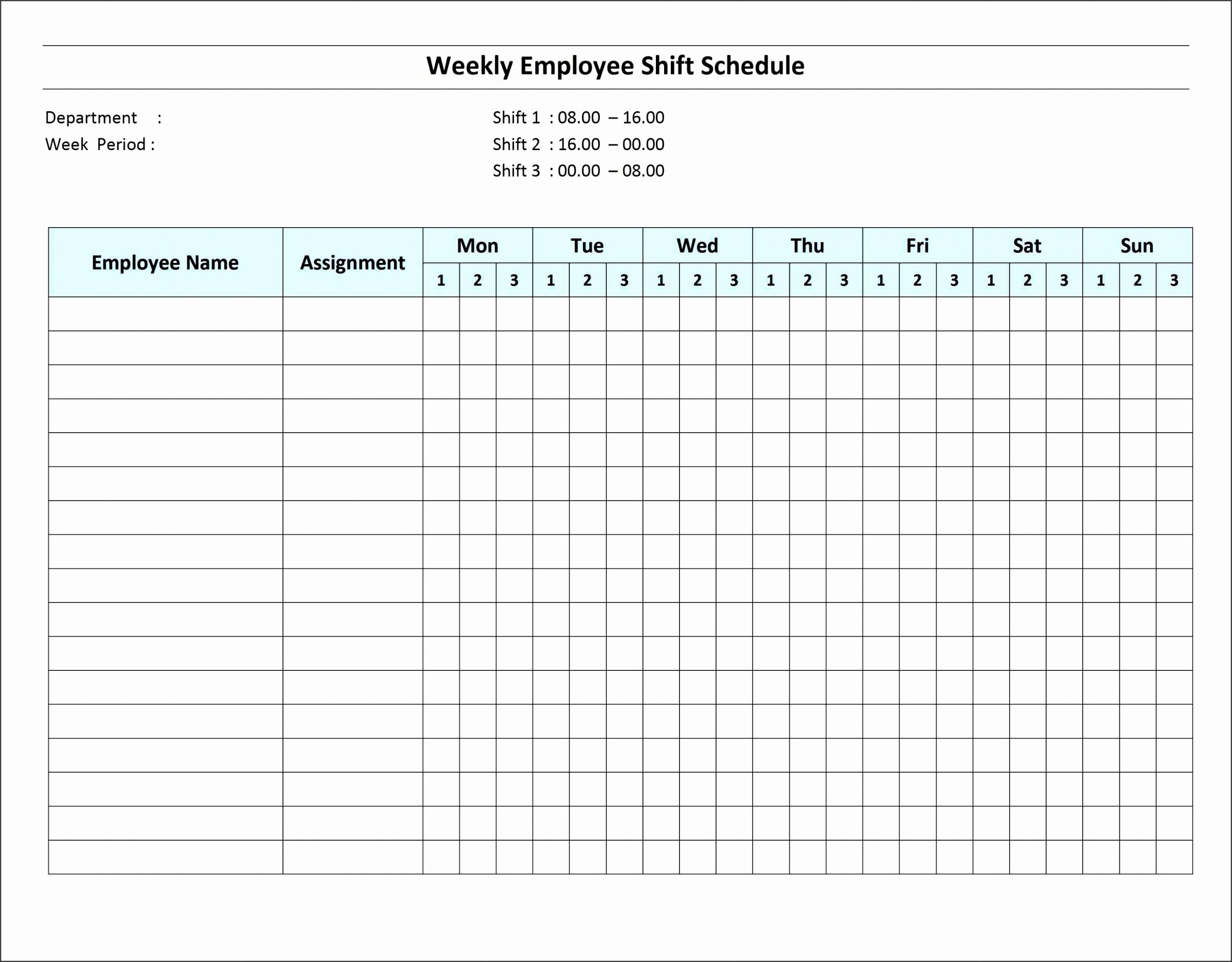 Free Monthly Employee Schedule Template Lovely 6 Excel Daily Work Schedule Sampletemplatess