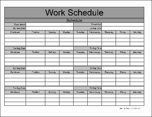 Free Monthly Work Schedule Template Beautiful Free Wide Row Monthly Work Schedule From formville