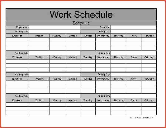 Free Monthly Work Schedule Template Elegant Monthly Work Schedule Template