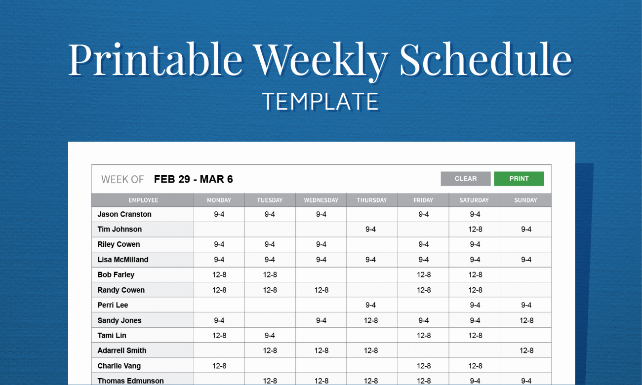 Free Monthly Work Schedule Template Fresh Free Printable Weekly Work Schedule Template for Employee
